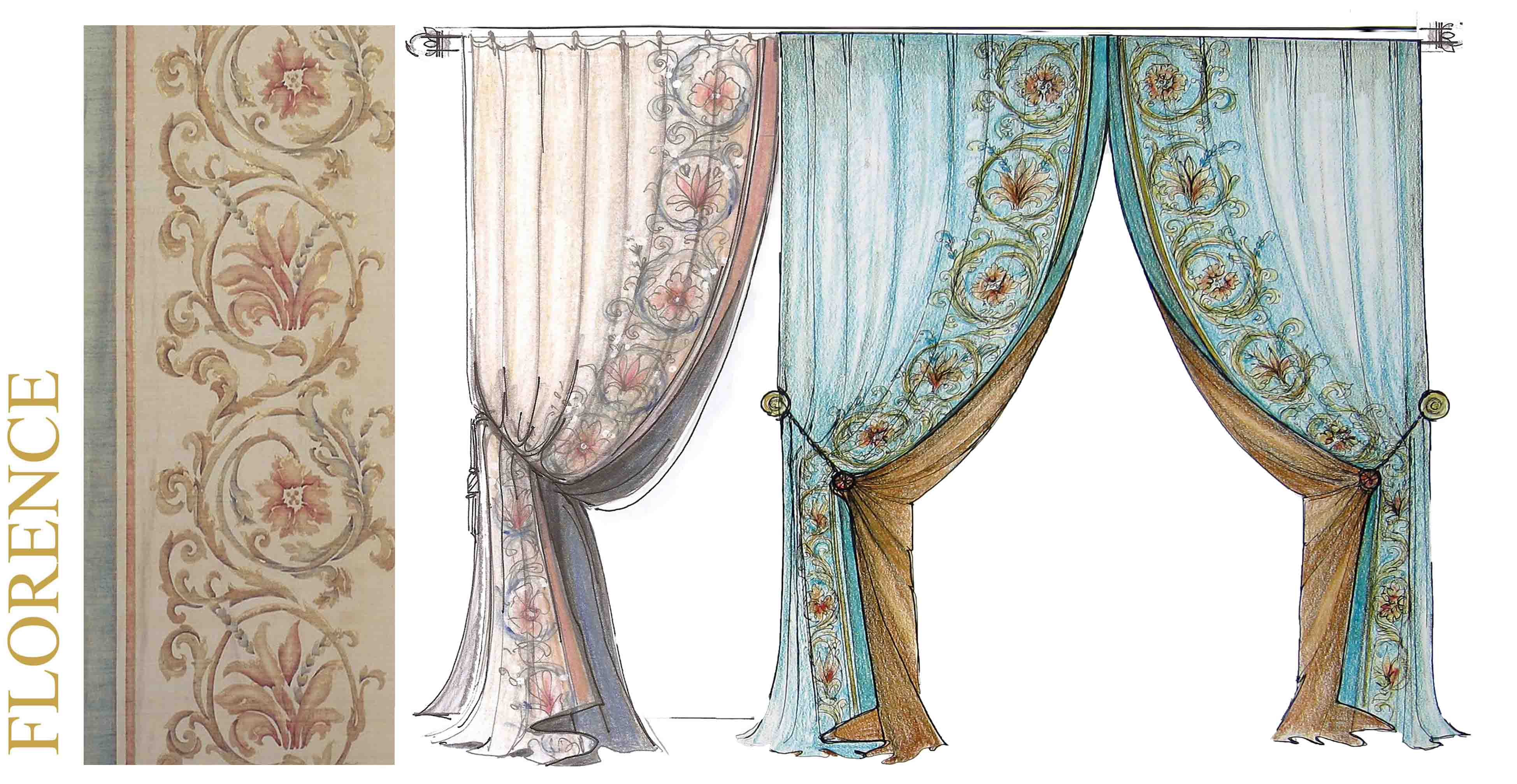 Bery Designs Hand Painted Fabrics Florence